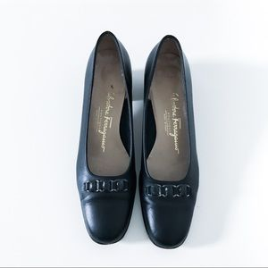 Salvatore Ferragamo Navy Buckle Block Heels